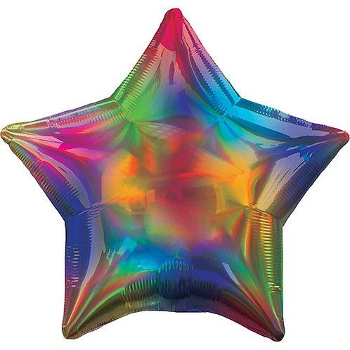 "Rainbow Holographic Star Foil Balloon  - 48cm / 19"""