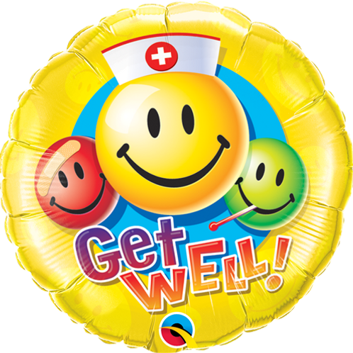 """18"""" ROUND GET WELL SMILEY FACES FOIL BALLOON"""