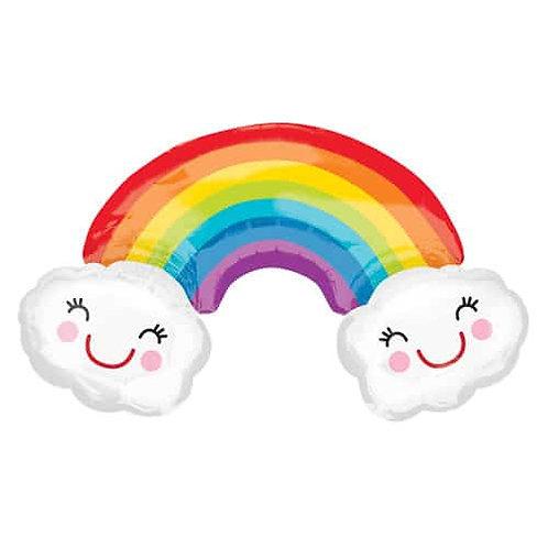 "Giant Rainbow & Clouds Foil Balloon - 93cm / 37"""