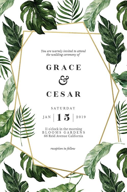 Gold & Green Leaf Frame Engagement Invites + free matching envelopes