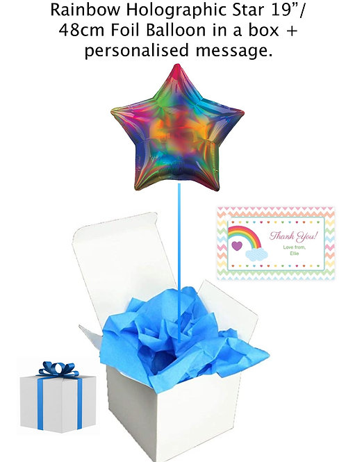 "Rainbow Holographic Star 19""Foil Balloon in a box + message."