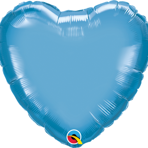 "18"" HEART CHROME PLAIN FOIL BALLOON - range of colours"