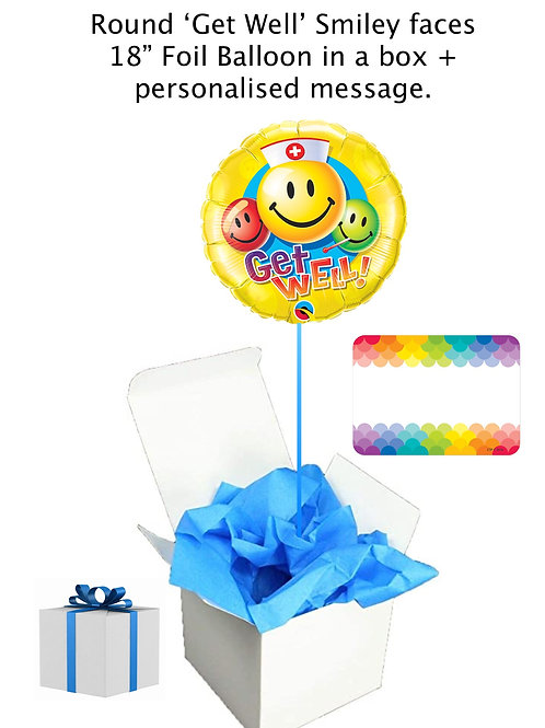 "'Get Well' Smiley faces 18"" Foil Balloon in a box + personalised message"