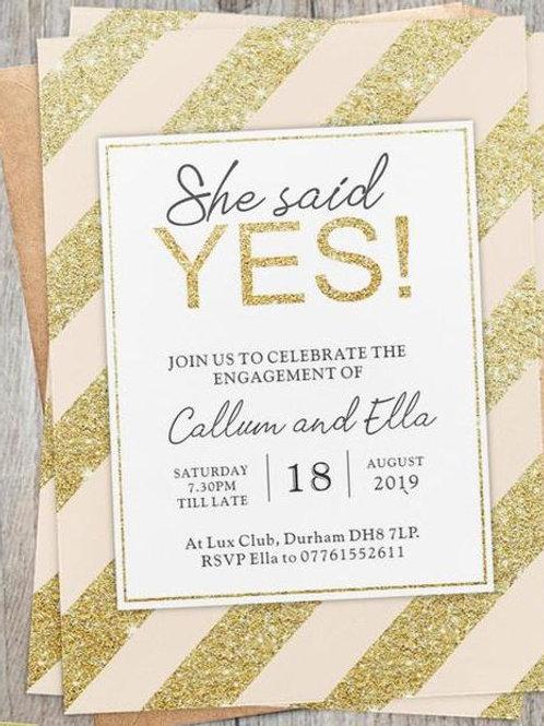 Gold Glitter Stripped Invite +  free envelopes