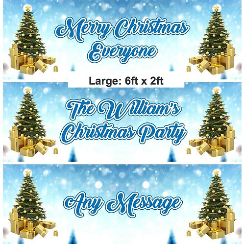2 Personalised Christmas Tree Banner - size large 6ft x 2ft