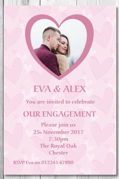 Pink Heart Engagement invite + Matching envelopes