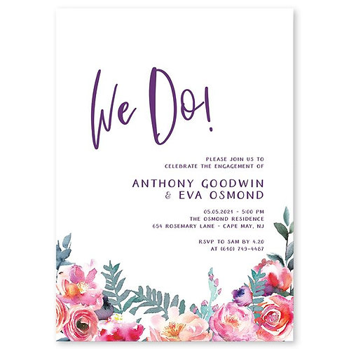 Floral 'We Do' Engagement invites + free matching envelopes