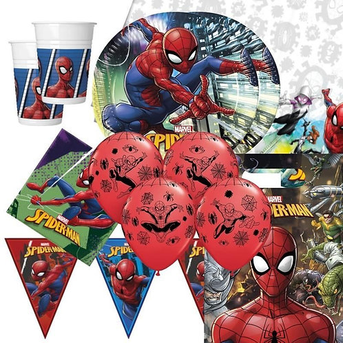 Ultimate Superhero Spiderman Golden Party Pack +2 personalised banner +sweets