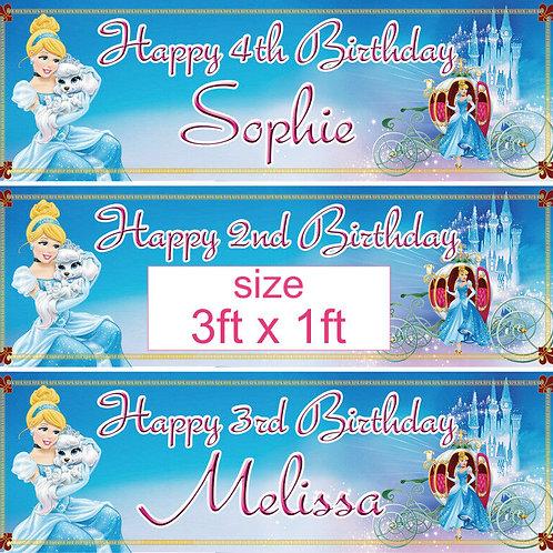 2 personalised Disney Cinderella princess birthday banner  - size 3ft x 1ft
