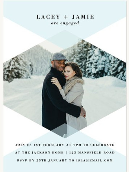 Symmetrical Diamond photo invite  - + free envelopes