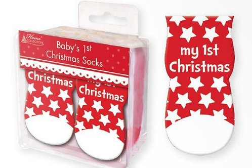 Baby's First Christmas Socks - red & white stars