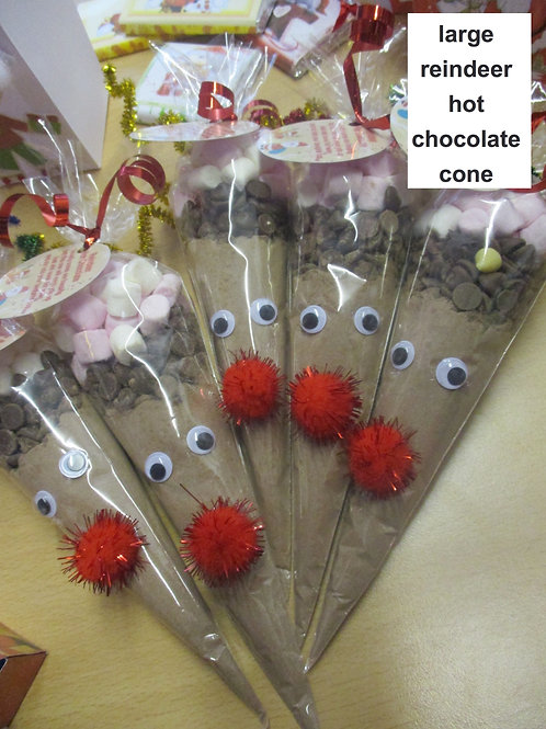 Large Red nose Reindeer hot choc cones  - perfect as a gift