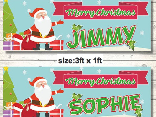 2 Personalised Santa Merry Christmas Banner : size 3ft x 1ft