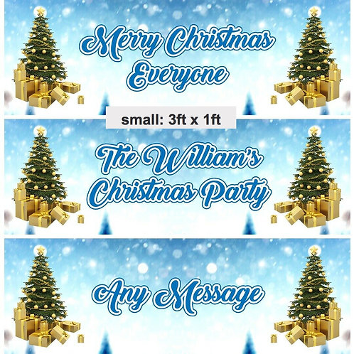 2 Personalised Christmas Tree Banner -  size 3ft x 1ft