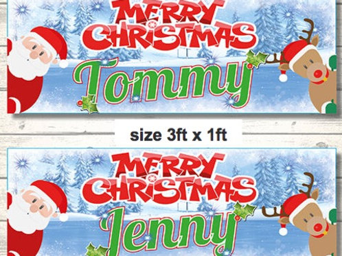 2 Personalised Santa & Rudolph Merry Christmas banner :size 3ft x 1ft
