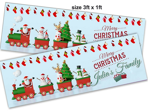 2 x Personalised SantaTrain Christmas Banner : size 3ft x 1ft