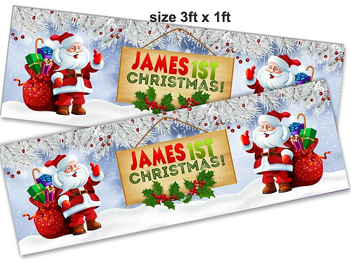 2 Adorable Santa 1st Christmas Personalised banner :size 3ft x 1ft