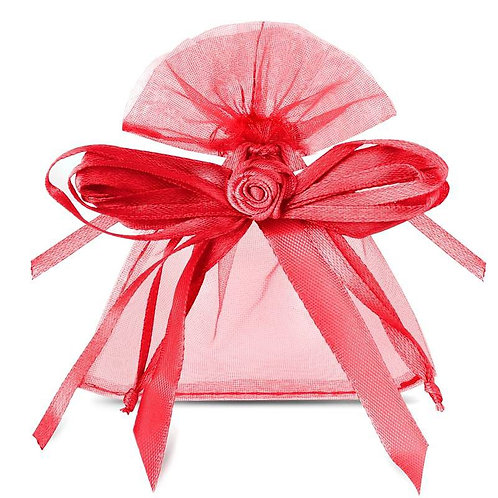 Organza bags 8 x 10 cm – red bow