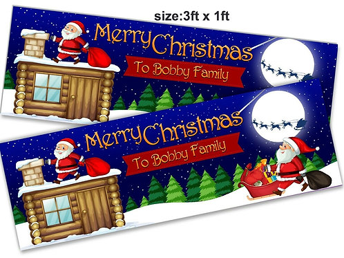 2 Personalised Roof-top Santa Christmas banner: 3ft x 1ft