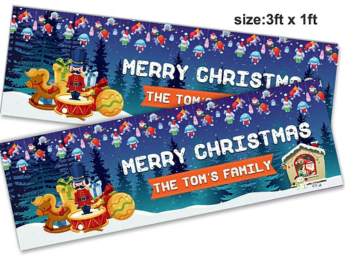 2 Personalised Santa & toys Merry Christmas Banner - size 3ft x 1ft