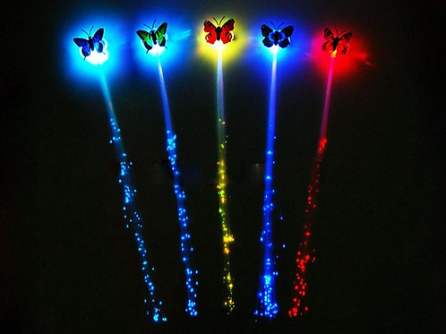 LED Butterfly Flashing Fibre Optic Hair Braid - 2 PACK