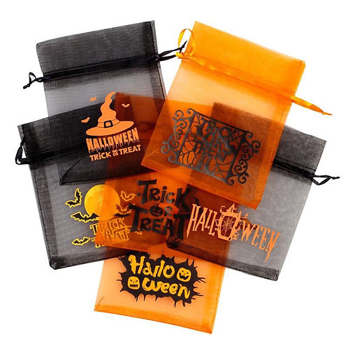 Halloween Organza Bag 12 x 15 cm - mix of patterns and colours