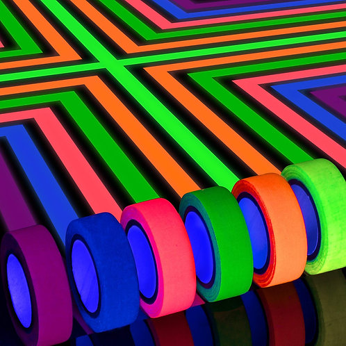Neon Tape, UV Blacklight Glow in The Dark Tape - 6 COLOURS