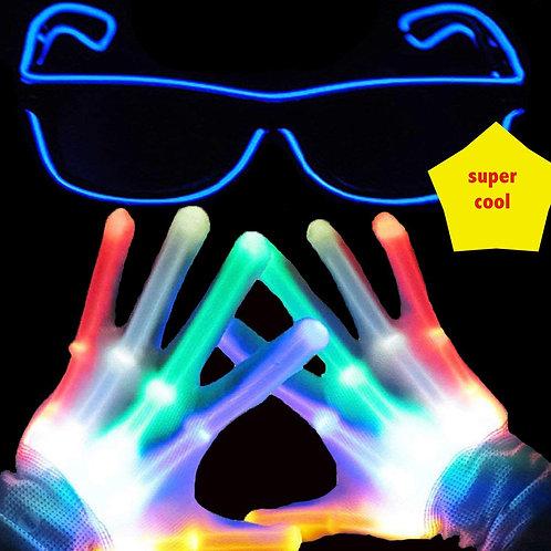Light Up Led Gloves with Finger Light Flashing LED - supa fun!