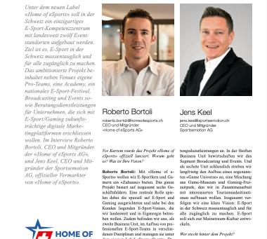 Das grosse Interview von Roberto Bortoli, CEO von Home of Esports im SPONSORING extra