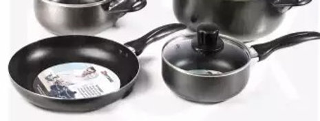 MITSHU 7 Pcs Non Stick Cookware Set with Glass Lids Aluminum Stainless Steel Bas