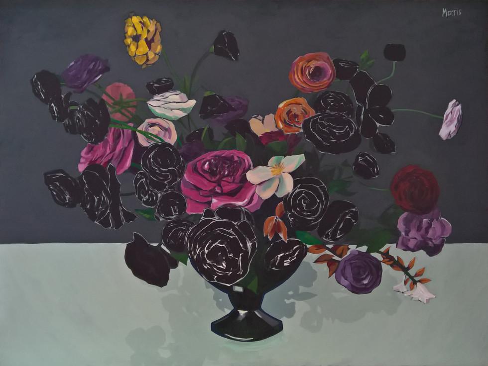 "Flowers in Black, acrylic on panel, 30 x 40"""