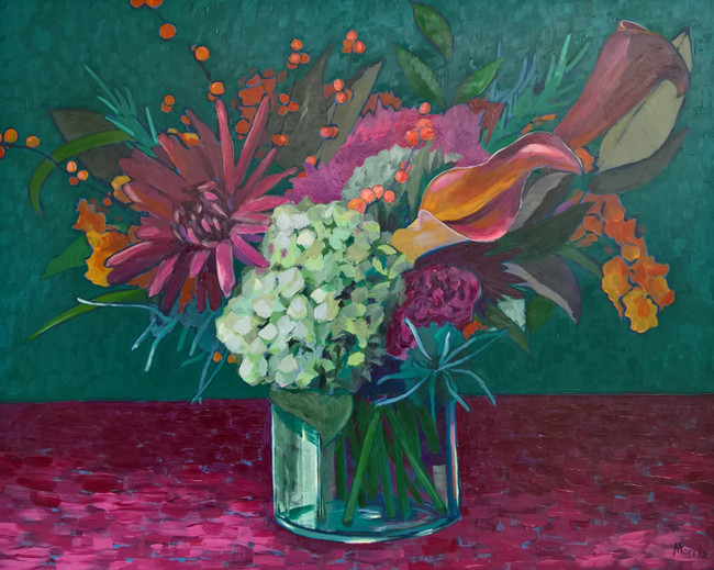 Hydrangeas and Lilies, acrylic on canvas, 16 x 20