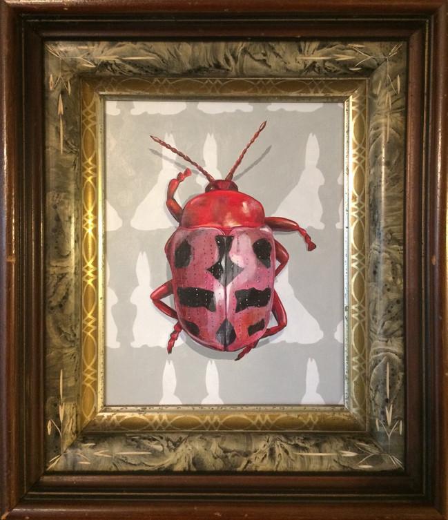 Beetle and Bunnies, 2019, 8 x 10, acrylic on panel