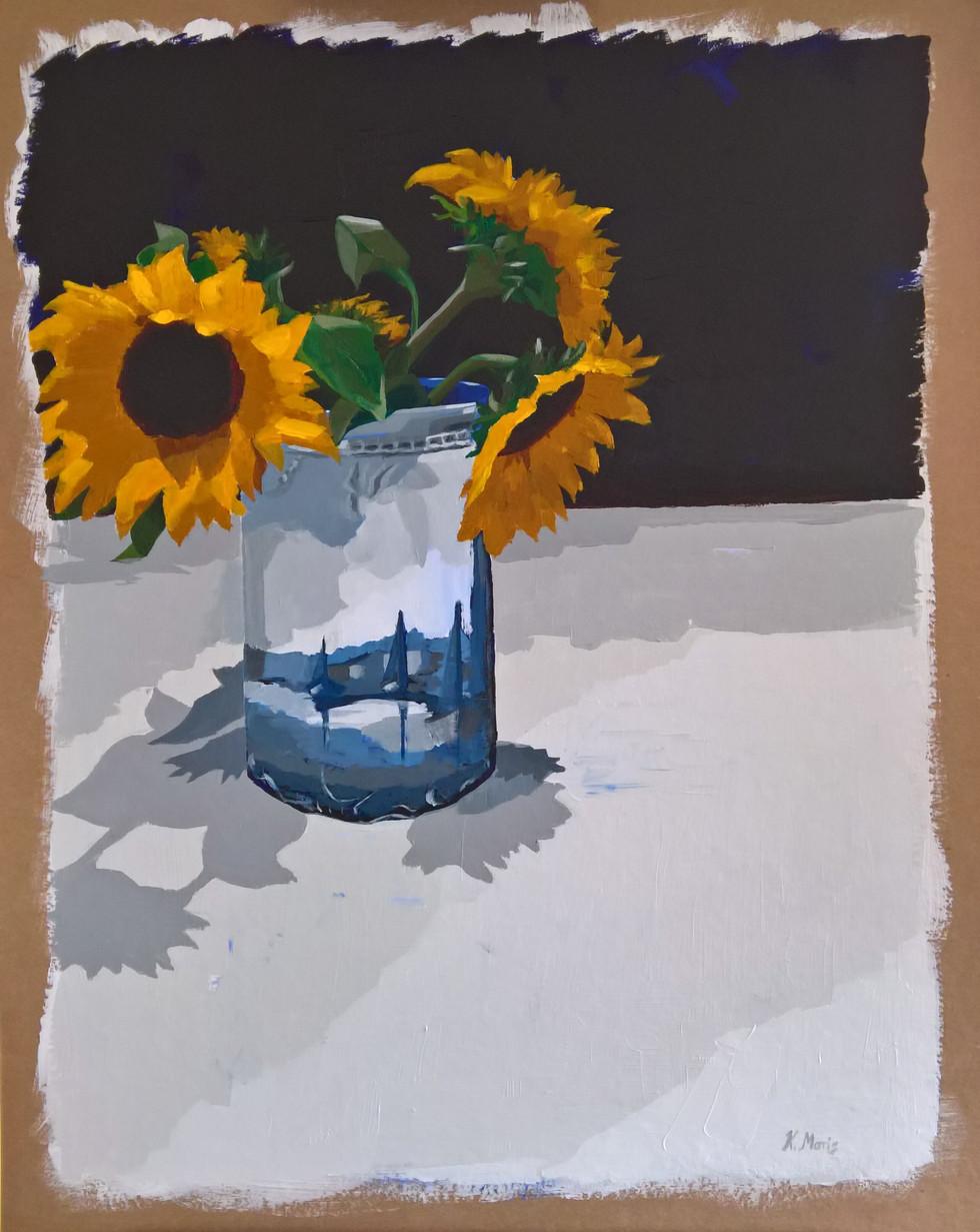 Sunflowers, acrylic on cardboard, 24 x 18