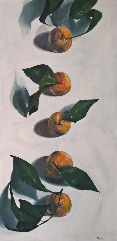 "Five Oranges, 2019, oil on canvas, 24"" x 48"""