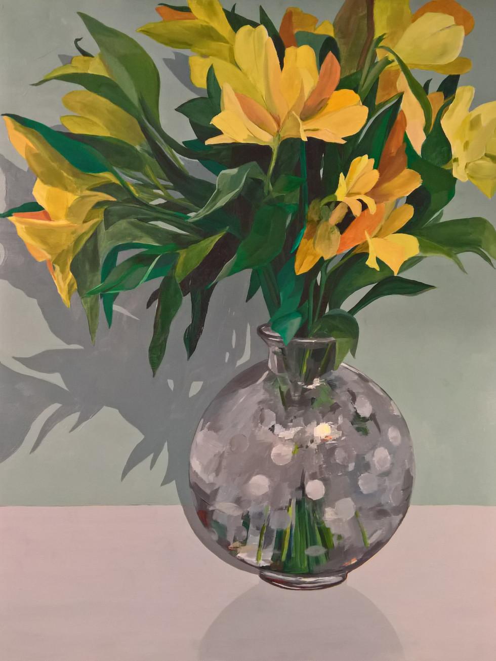 Alstroemeria, acrylic on panel, 24 x 18