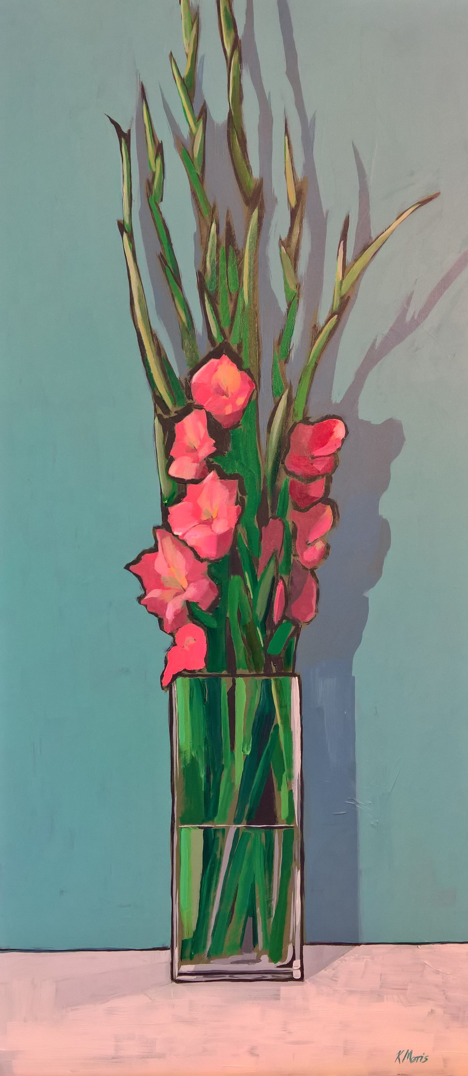 Gladiolas, acrylic on panel, 22 x 11