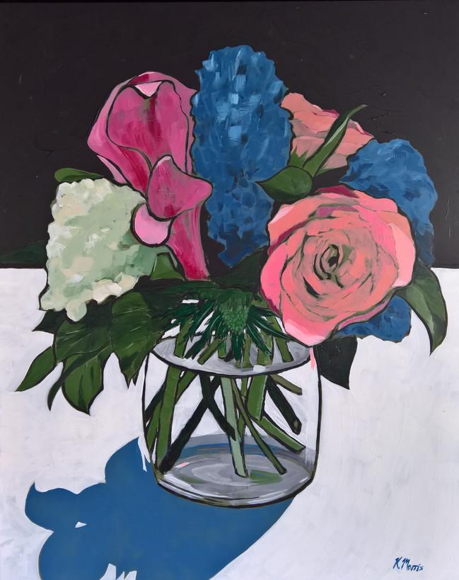Flowers on Black, acrylic on panel, 20 x 16