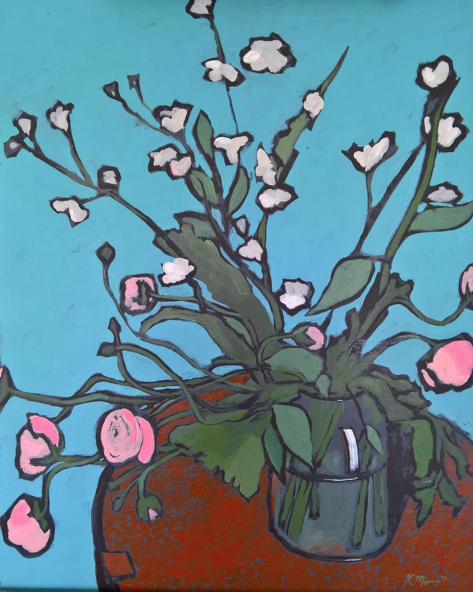 Flowers on Turquoise, acrylic on panel, 20 x16