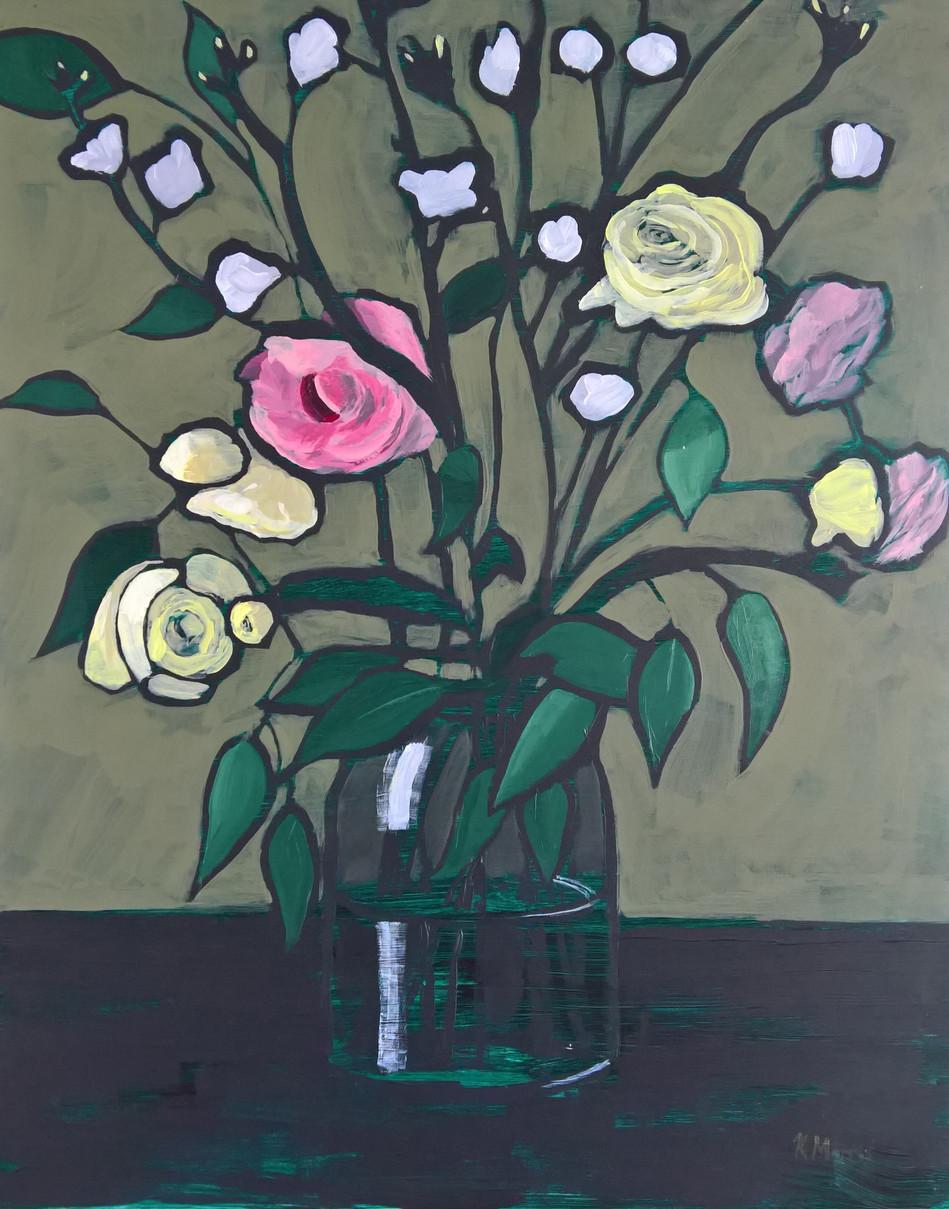 Flowers on Olive, acrylic on panel, 20 x 16