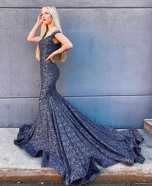Stunning blue mermaid prom gown