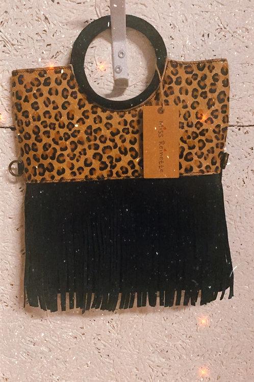 Sac léopard en cuir