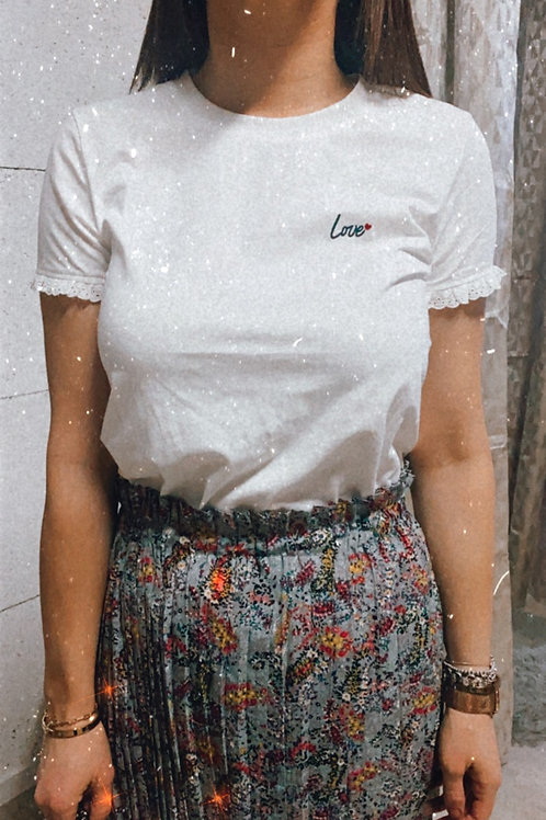 T-shirt love dentelle