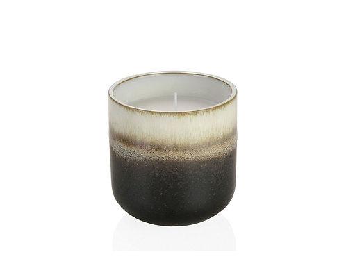 Vela em vaso branco, cinza, creme e castanho