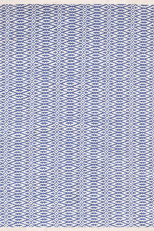 Tapete cotton woven, azul e branco