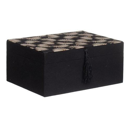 Porta jóias preto, com folhas cremes, com 23x17x10.50cm
