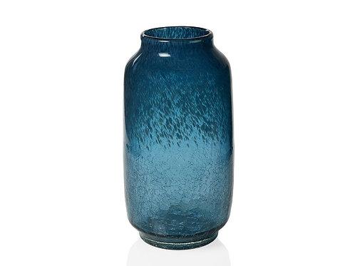 Jarra de vidro azul crackle