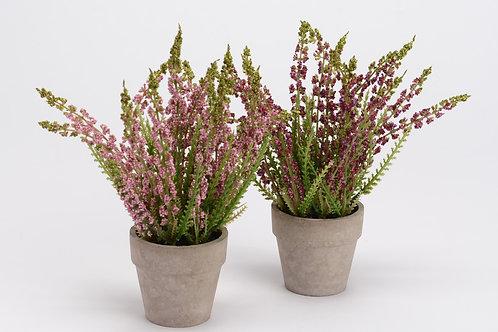 Vaso com flor rosa, com 18 cm de altura