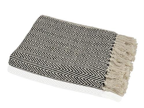 Manta em algodão creme e preta com 125x150cm