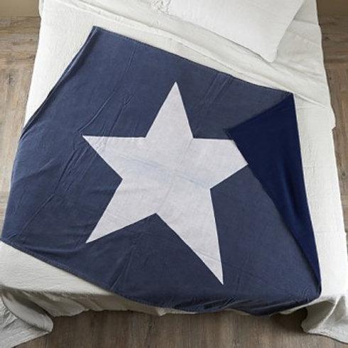Manta azul e branca com estrela